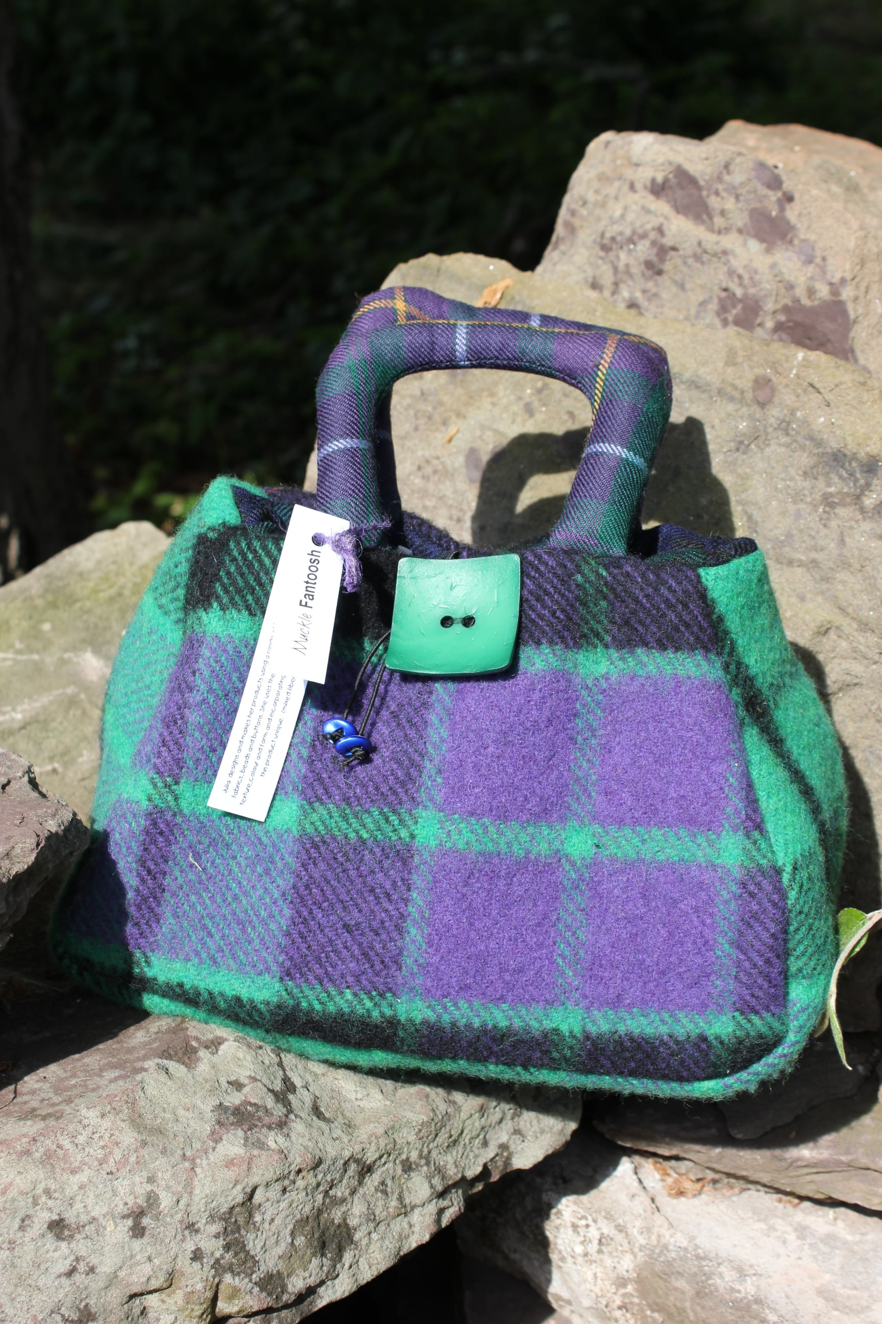 Deep Purple & Bright Green Tartan Handmade Handbag